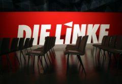 Linkspartei-Logo auf Parteitag