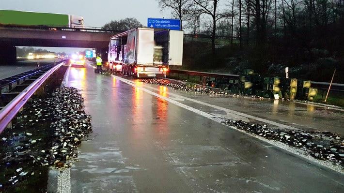 lkw bierkisten, Lkw verliert Bierkisten auf der A27, City-News.de