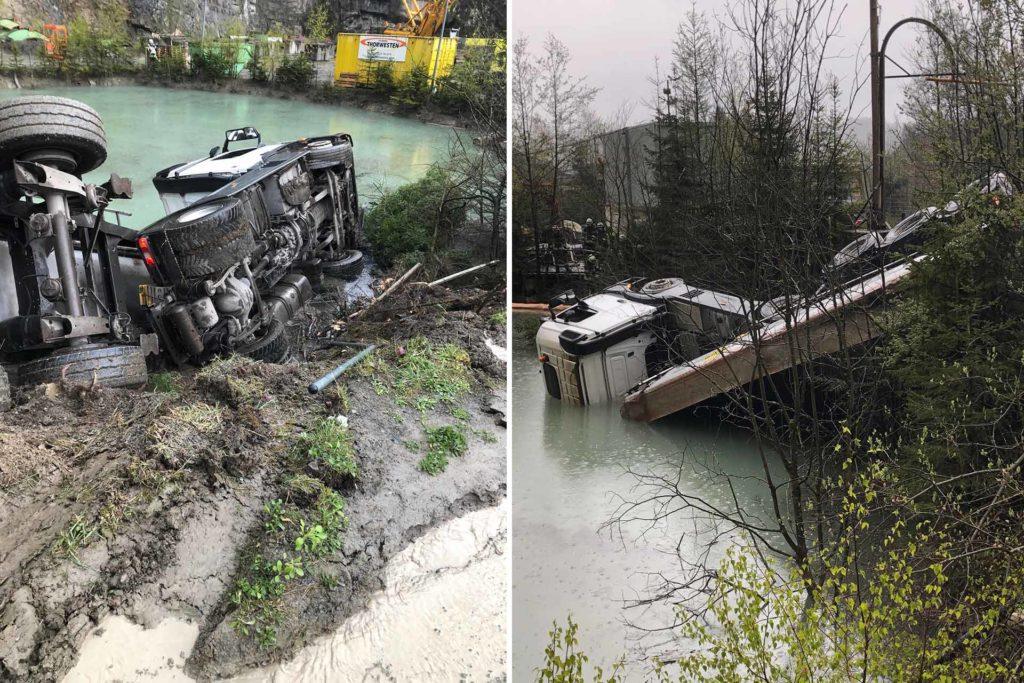 Sattelzugmaschine rutscht in Wasserbecken, Sattelzugmaschine rutscht in Wasserbecken, City-News.de