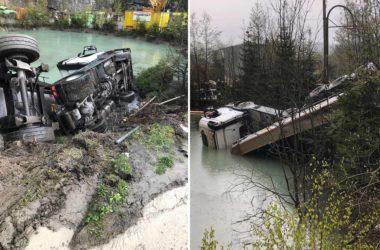 Sattelzugmaschine rutscht in Wasserbecken