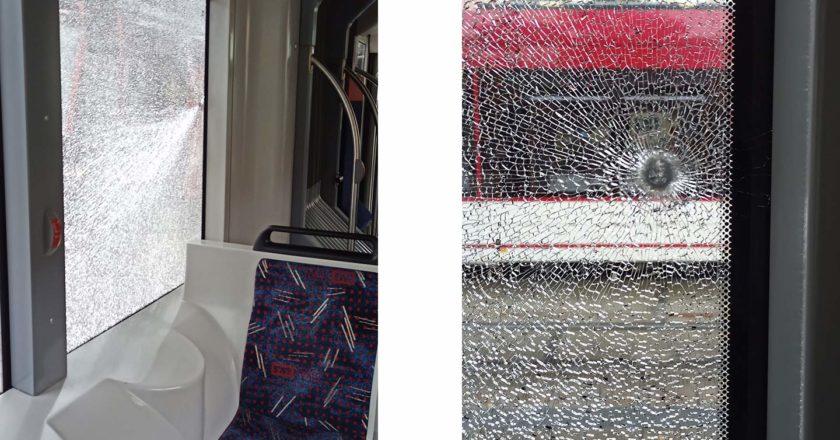 Scheibe im Bus in Erfurt zerstört